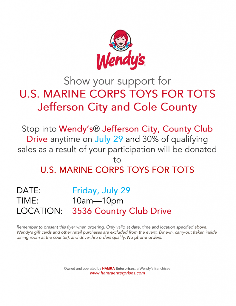 Toys For Tots Flyer 2017 : Eat at wendy s and help toys for tots kat country